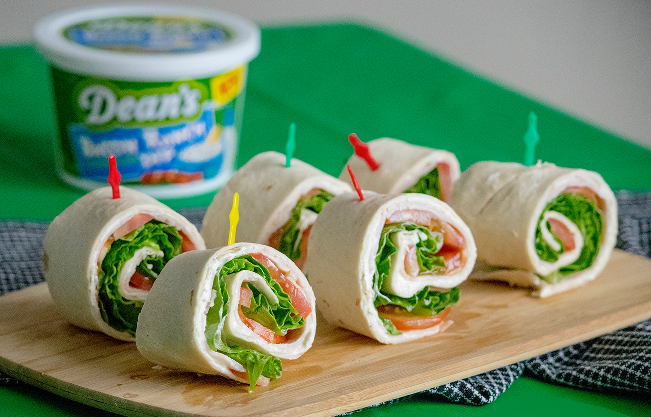 Bacon Ranch Pinwheels uses Dean's Bacon Ranch Dip.