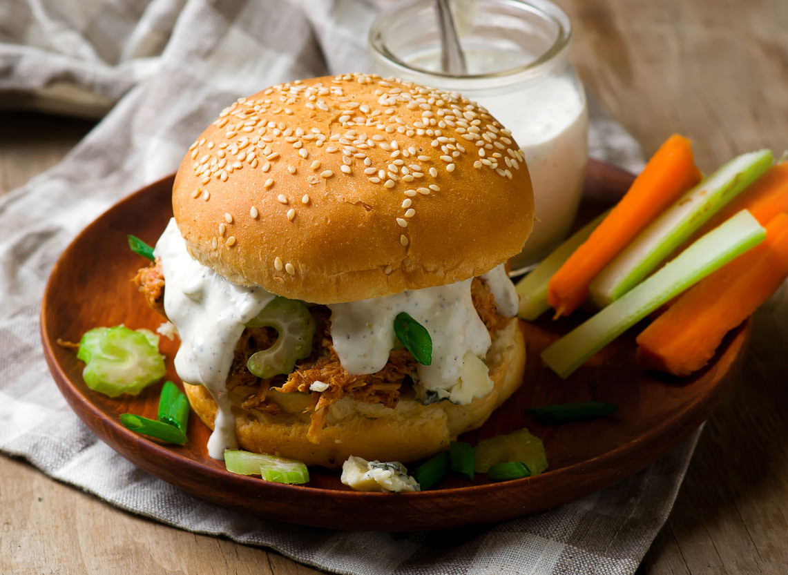 French Onion Buffalo Chicken Sandwich is made with Dean's French Onion Dip.