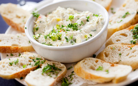 Ranch Artichoke Dip is made with Dean's Ranch Dip.