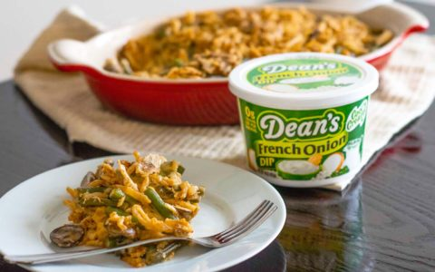 French Onion Green Bean Casserole uses Dean's French Onion Dip.