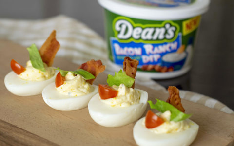 Ranch BLT Deviled Eggs uses Dean's Bacon Ranch Dip.